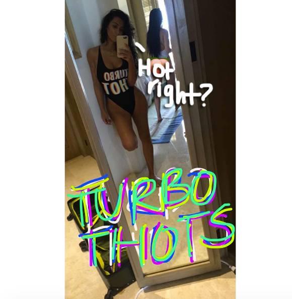 Kim Kardashian Is A Self-Proclaimed 'Turbo Thot' Modeling Her New Kimoji Swimsuits In Mexico!