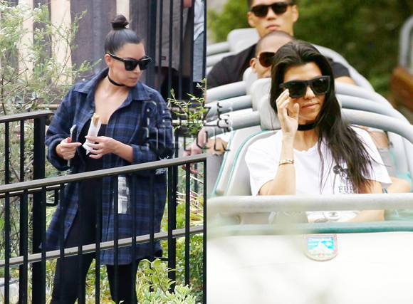 Kim & Kourtney Kardashian Chow Down On Churros With Their Kids At Disneyland!