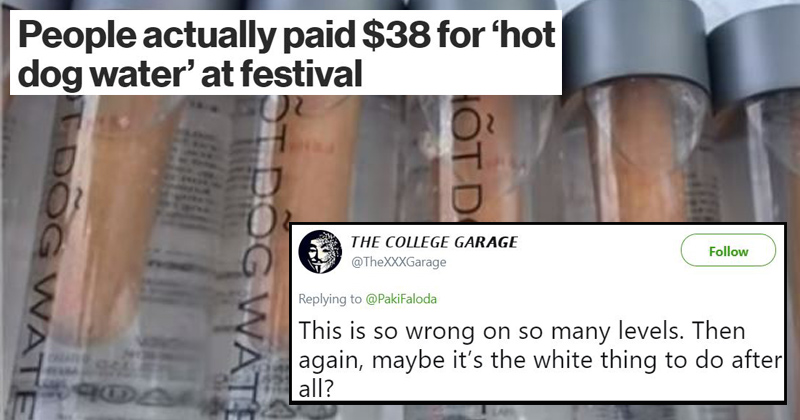 Artist Tries To Sell Bogus Keto 'Hot Dog Water' At A Festival For An Outrageous Price